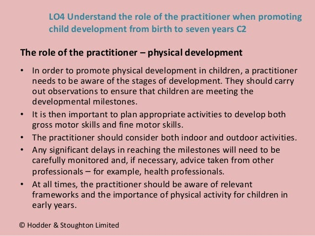 • In order to promote physical development in children, a practitioner needs to be aware of the stages of development. The...