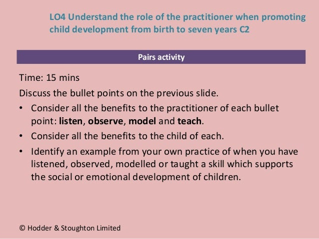 Pairs activity Time: 15 mins Discuss the bullet points on the previous slide. • Consider all the benefits to the practitio...