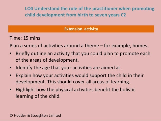 Extension activity Time: 15 mins Plan a series of activities around a theme – for example, homes. • Briefly outline an act...