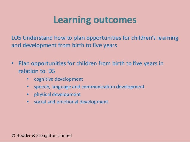 LO5 Understand how to plan opportunities for children's learning and development from birth to five years • Plan opportuni...