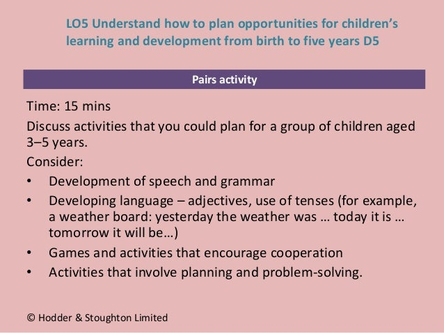 Pairs activity Time: 15 mins Discuss activities that you could plan for a group of children aged 3–5 years. Consider: • De...