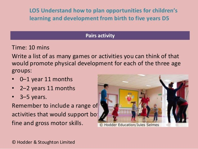 Pairs activity Time: 10 mins Write a list of as many games or activities you can think of that would promote physical deve...