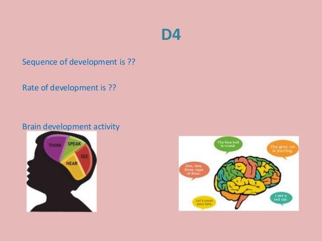 D4 Sequence of development is ?? Rate of development is ?? Brain development activity