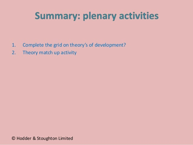 1. Complete the grid on theory's of development? 2. Theory match up activity © Hodder & Stoughton Limited