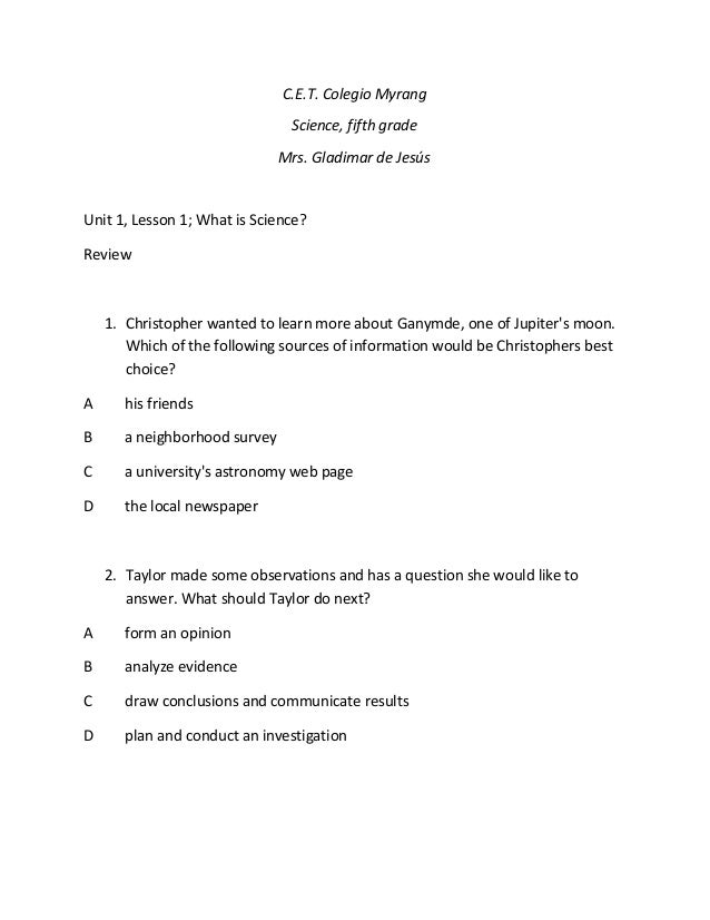 U 1 Lesson 1 What Is Science Review