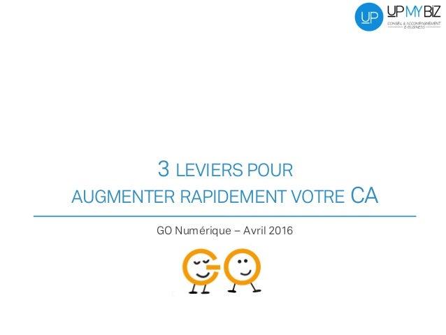 3 LEVIERS POUR AUGMENTER RAPIDEMENT VOTRE CA GO Numérique – Avril 2016