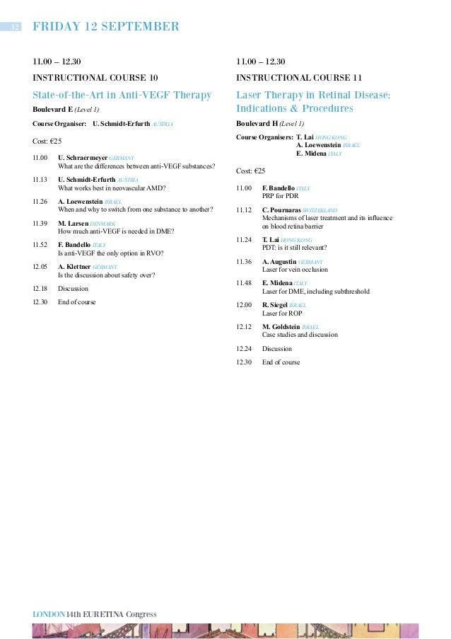 Eurentina 2014 London Final Programme