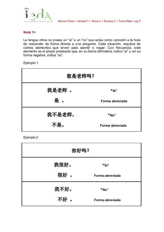"""Idioma Chino > Unidad 1 > Tema 2 > Escena 2 > Toma Nota > pg 1 Nota 1> La lengua china no posee un """"sí"""" o un """"no"""" que actú..."""
