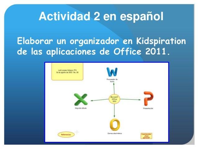 Elaborar un organizador en Kidspiration de las aplicaciones de Office 2011. Actividad 2 en español