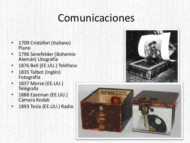 Comunicaciones • 1709 Cristófori (Italiano) Piano • 1796 Senefelder (Bohemio Alemán) Litografía • 1876 Bell (EE.UU.) Teléf...