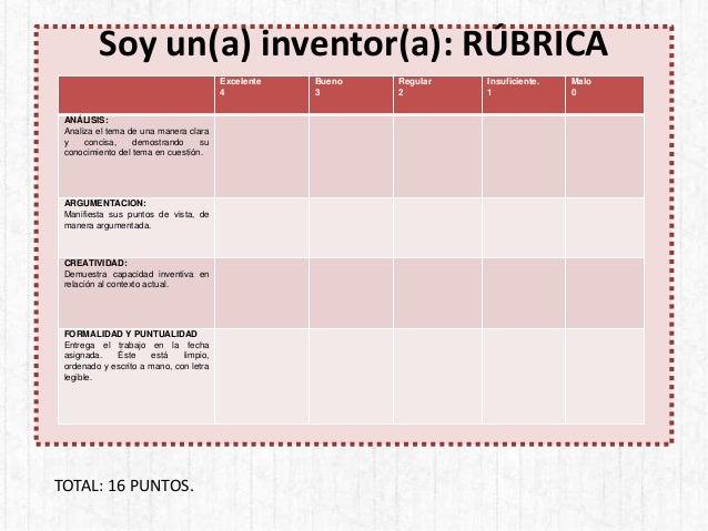 Soy un(a) inventor(a): RÚBRICA Excelente 4 Bueno 3 Regular 2 Insuficiente. 1 Malo 0 ANÁLISIS: Analiza el tema de una maner...