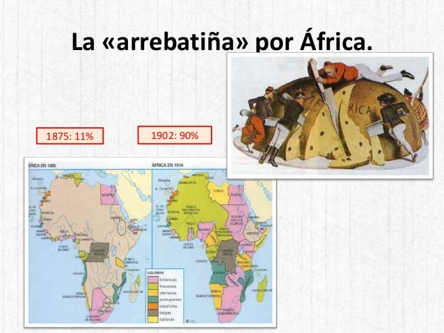 La «arrebatiña» por África. 1875: 11% 1902: 90%