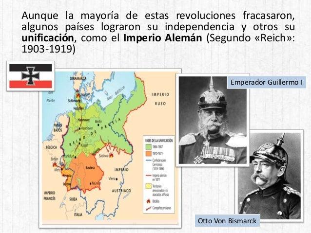 Aunque la mayoría de estas revoluciones fracasaron, algunos países lograron su independencia y otros su unificación, como ...