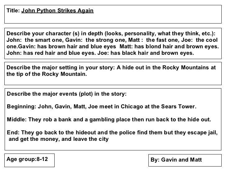 Title: John Python Strikes AgainDescribe your character (s) in depth (looks, personality, what they think, etc.):John: the...