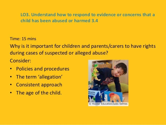 explain the rights that children and their carers have in situations where harm or abuse is suspecte Explain the rights that children, young people and their carers have in situations where harm or abuse is suspected or alleged explain ways of empowering children and young people to make positive and informed choices that support their well-being and safety.
