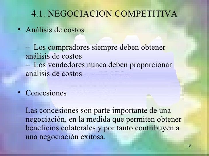 4.1. NEGOCIACION COMPETITIVA• Análisis de costos  – Los compradores siempre deben obtener  análisis de costos  – Los vende...