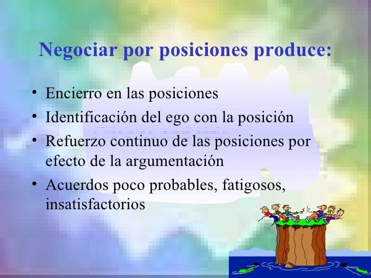 Negociar por posiciones produce:• Encierro en las posiciones• Identificación del ego con la posición• Refuerzo continuo de...
