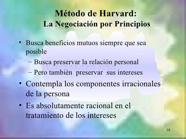 Método de Harvard:       La Negociación por Principios• Busca beneficios mutuos siempre que sea  posible   – Busca preserv...