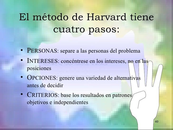 El método de Harvard tiene      cuatro pasos:• PERSONAS: separe a las personas del problema• INTERESES: concéntrese en los...