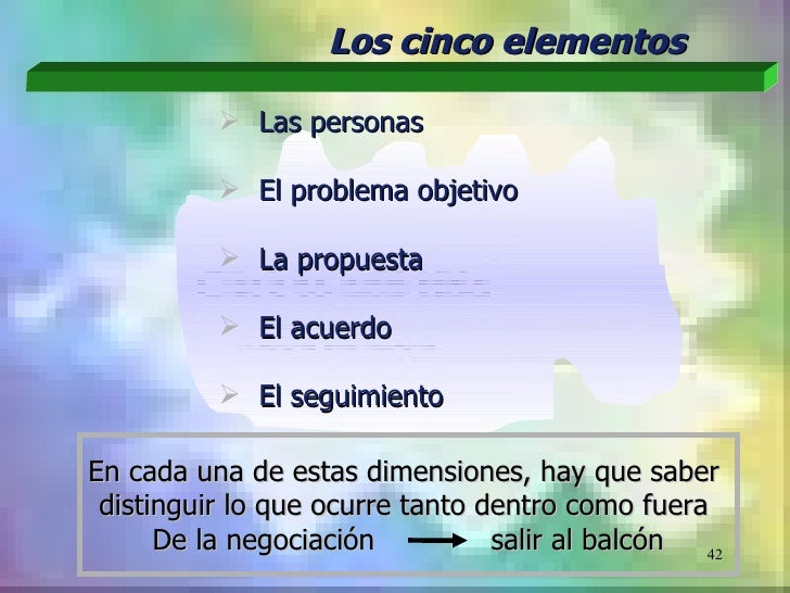 Los cinco elementos           Las personas           El problema objetivo           La propuesta           El acuerdo ...