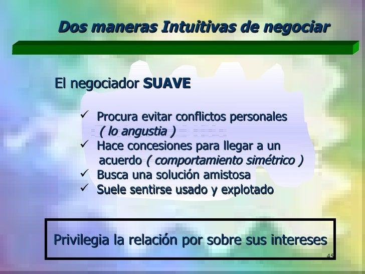 Dos maneras Intuitivas de negociarEl negociador SUAVE     Procura evitar conflictos personales      ( lo angustia )     ...