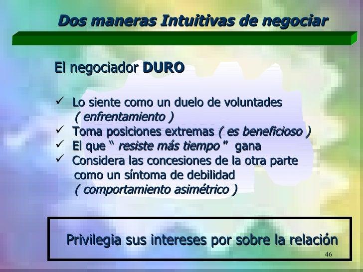 Dos maneras Intuitivas de negociarEl negociador DURO Lo siente como un duelo de voluntades  ( enfrentamiento ) Toma posi...