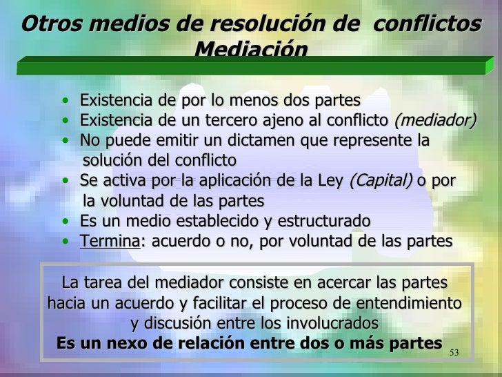 Otros medios de resolución de conflictos              Mediación   • Existencia de por lo menos dos partes   • Existencia d...