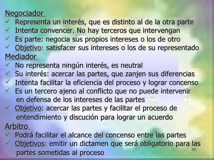 Negociador   Representa un interés, que es distinto al de la otra parte   Intenta convencer. No hay terceros que interve...