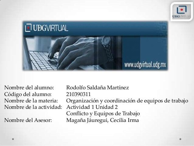 Nombre del alumno: Rodolfo Saldaña Martínez Código del alumno: 210390311 Nombre de la materia: Organización y coordinación...
