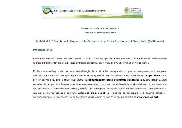 """Estructura de la Cooperativa                                           Unidad 2: Diferenciación  Actividad 1: """"Benchmarket..."""