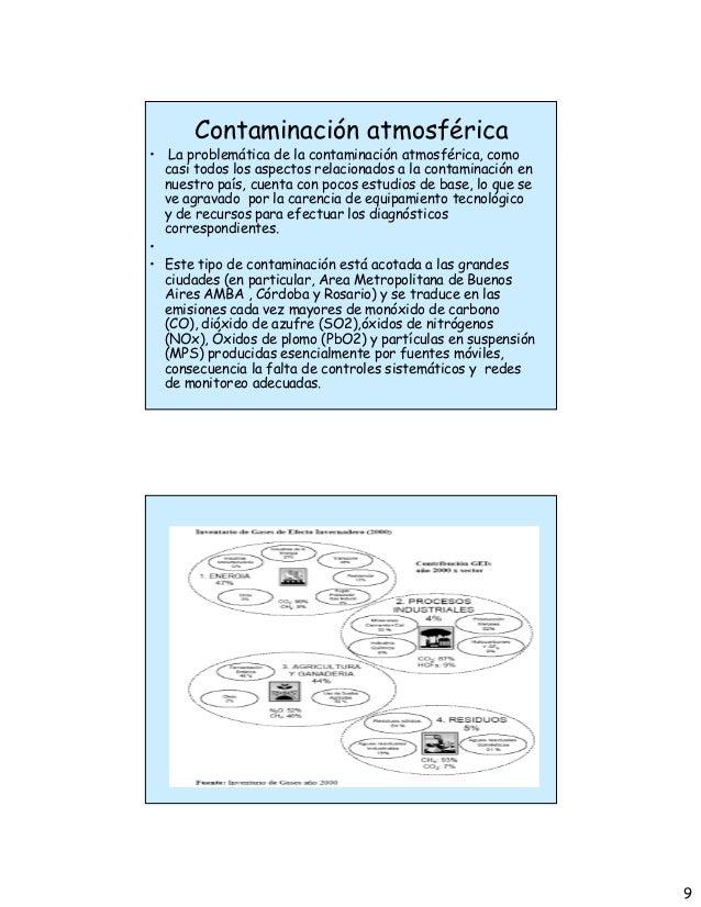 9 Contaminación atmosférica • La problemática de la contaminación atmosférica, como casi todos los aspectos relacionados a...