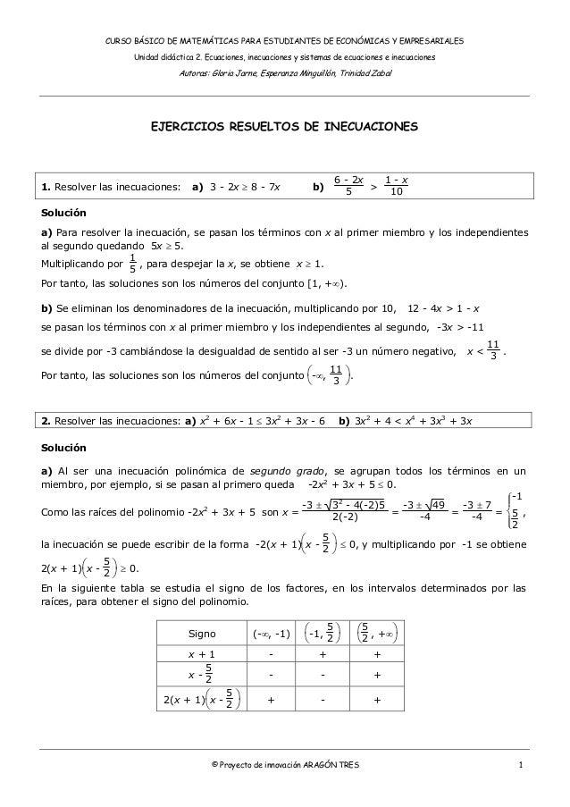 CURSO BÁSICO DE MATEMÁTICAS PARA ESTUDIANTES DE ECONÓMICAS Y EMPRESARIALES Unidad didáctica 2. Ecuaciones, inecuaciones y ...