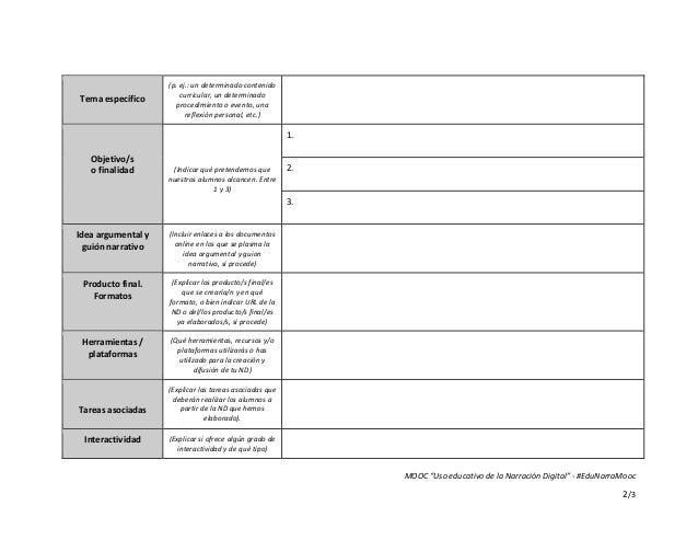 """MOOC """"Uso educativo de la Narración Digital"""" - #EduNarraMooc 2/3 Tema específico (p. ej.: un determinado contenido curricu..."""
