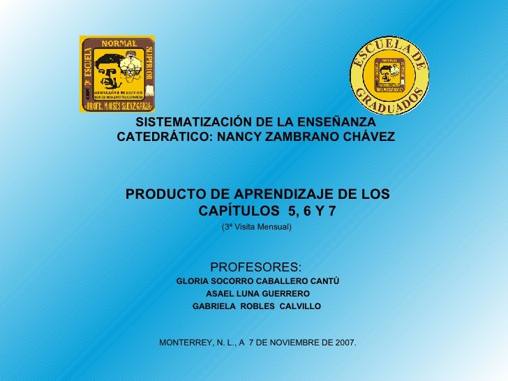 SISTEMATIZACIÓN DE LA ENSEÑANZA CATEDRÁTICO: NANCY ZAMBRANO CHÁVEZ PRODUCTO DE APRENDIZAJE DE LOS CAPÍTULOS  5, 6 Y 7 (3ª ...