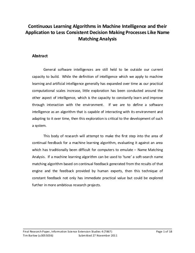 continuous learning algorithms   a research proposal paper