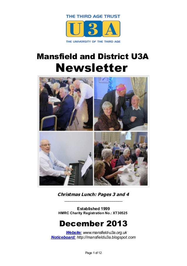 Mansfield and District U3A  Newsletter  Christmas Lunch: Pages 3 and 4 _____________________________ Established 1999 HMRC...