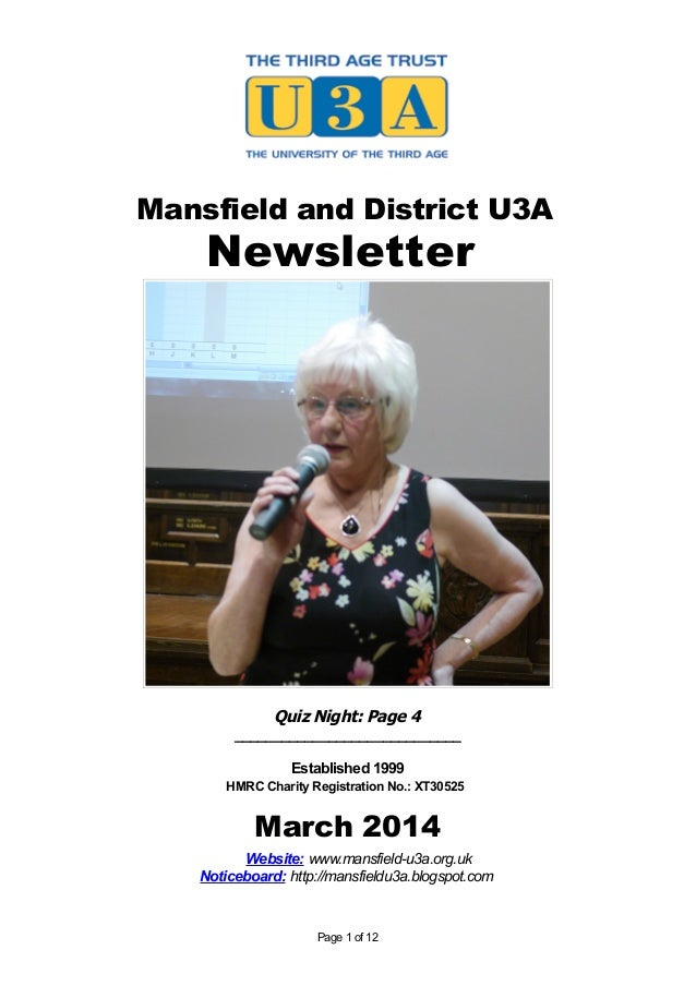 Mansfield and District U3A Newsletter Quiz Night: Page 4 _____________________________ Established 1999 HMRC Charity Regis...