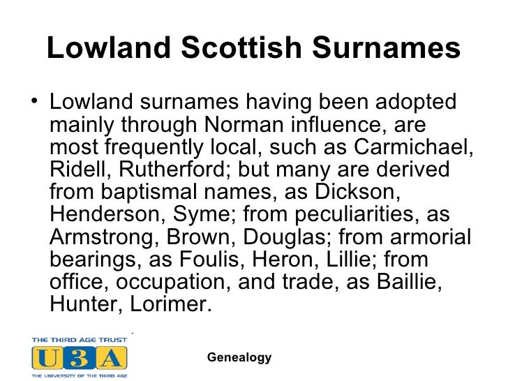 20 Lowland Scottish Surnames