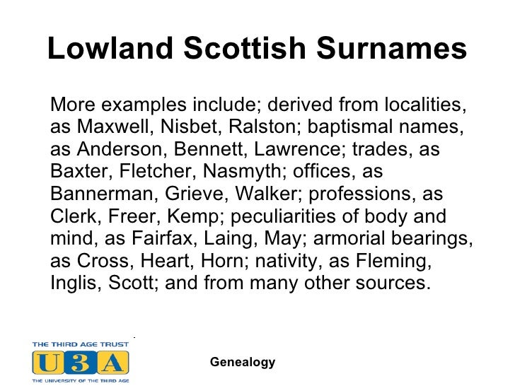 21 Lowland Scottish Surnames