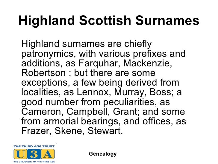 22 Highland Scottish Surnames