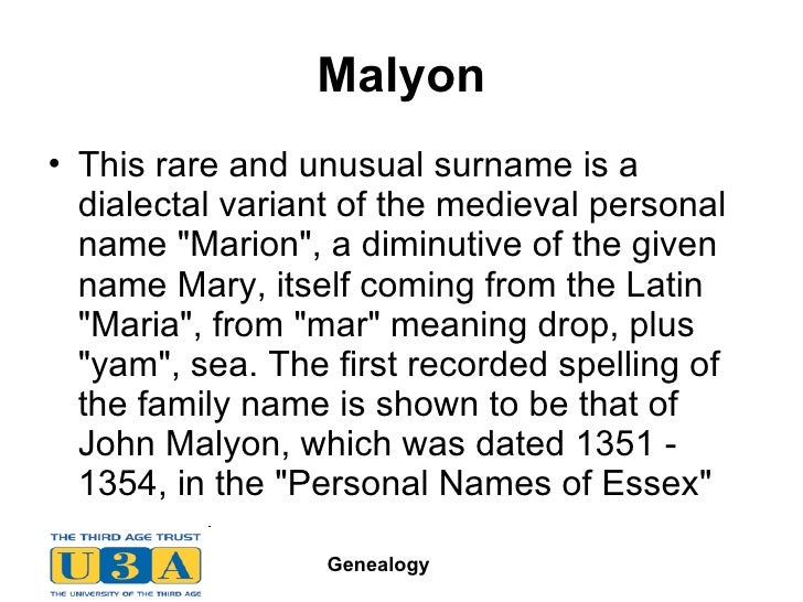 34 Malyon UlliThis Rare And Unusual Surname