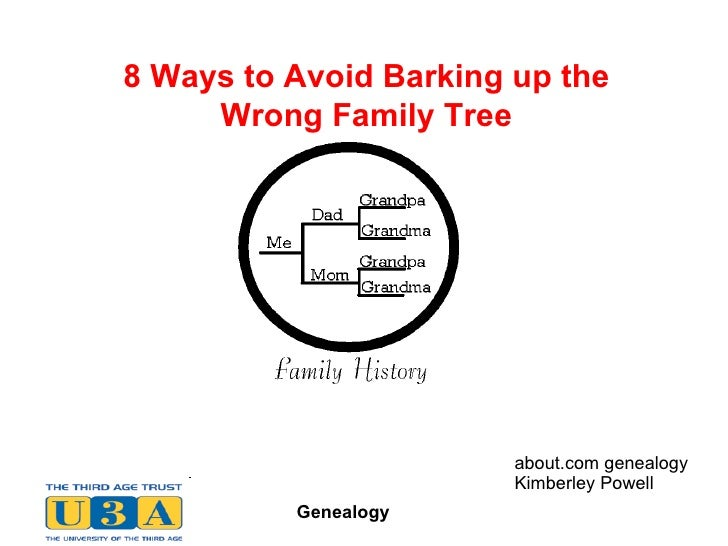 8 Ways to Avoid Barking up the Wrong Family Tree BMDBMD about.com genealogy Kimberley Powell