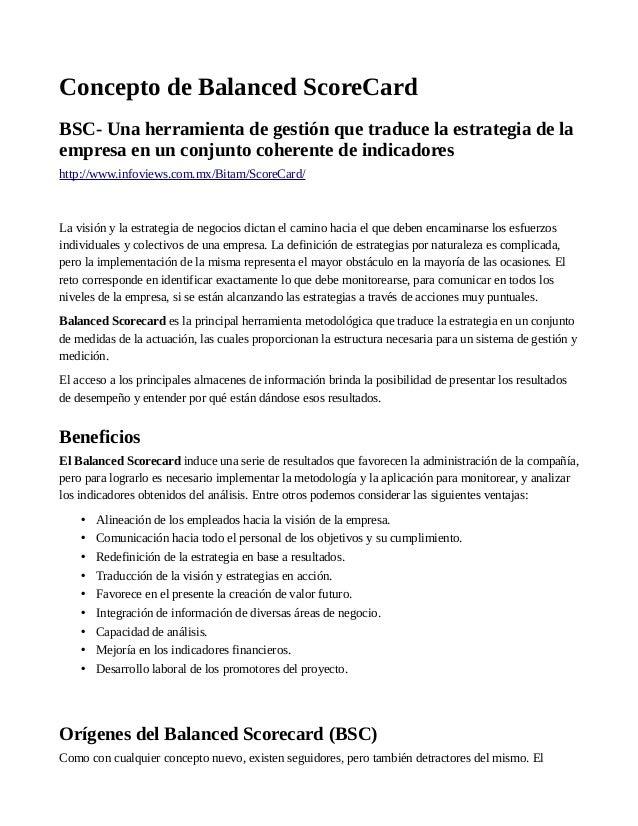 Concepto de Balanced ScoreCard BSC- Una herramienta de gestión que traduce la estrategia de la empresa en un conjunto cohe...