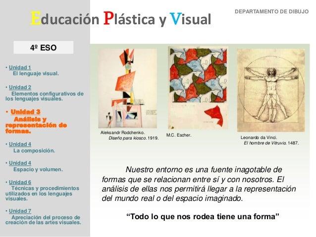 Unidad 3: Representación de formas Departamento de Dibujo Educación Plástica y Visual • Unidad 1 El lenguaje visual. • Uni...