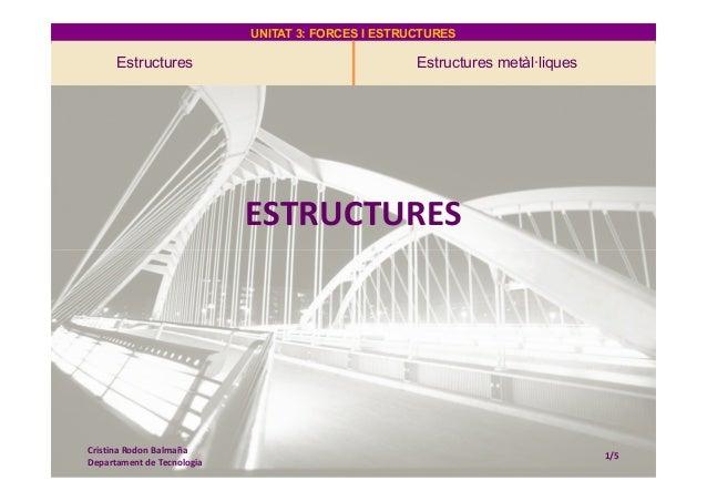 UNITAT 3: FORCES I ESTRUCTURESUNITAT 3: FORCES I ESTRUCTURES Estructures Estructures metàl·liques ESTRUCTURES Cristina Rod...