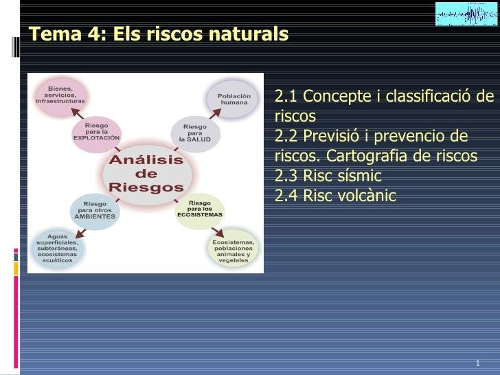 Tema 4: Els riscos naturals 2.1 Concepte i classificació de riscos 2.2 Previsió i prevencio de riscos. Cartografia de risc...