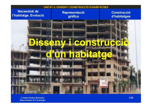 UNITAT 4: DISSENY I CONSTRUCCIÓ D'HABITATGES Necessitat de l'habitatge. Evolució Cristina Rodon Balmaña Departament de Tec...