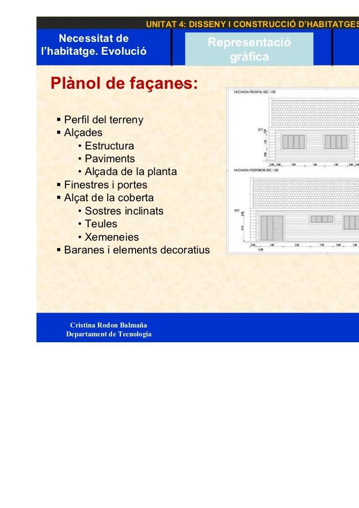UNITAT 4: DISSENY I CONSTRUCCIÓ D'HABITATGES    Necessitat de                      Representació                          ...