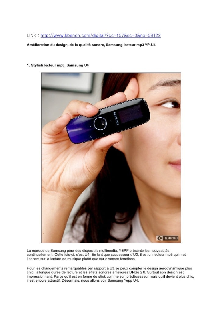 LINK : http://www.kbench.com/digital/?cc=157&sc=0&no=58122  Amélioration du design, de la qualité sonore, Samsung lecteur ...