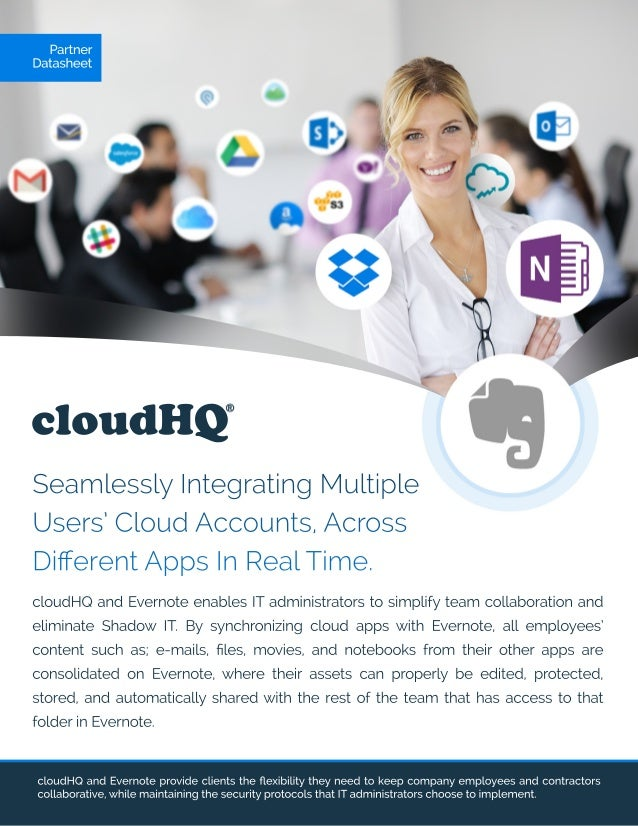 cloudHQ SeamlesslyIntegratingMultiple Users'CloudAccounts,Across DifferentAppsInRealTime. cloudHQandEvernoteprovideclientst...
